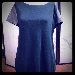 Zara knit zipper down top pleather sleeves Medium